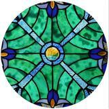 Fleur De Lis Living Stained Glass Window Panel in Blue, Size 16.0 H x 16.0 W x 0.0394 D in | Wayfair 67D9B024383B4FF8A9192C3B523264AC