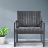 17 Stories Modern & Simple Design Chair, PU Steel Armchair, Brown Faux Leather/Metal in Black, Size 29.0 H x 26.0 W x 26.0 D in   Wayfair