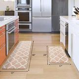 Rosdorf Park , Beige Pieces Microfiber Moroccan Trellis Non-Slip Soft Kitchen Mat Bath Rug Doormat Runner Carpet Set   Wayfair