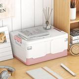 Rebrilliant Plastic Folding Storage Box, w/ Handle, Latch Storage Box, Car Storage Box, Household Clothes Storage Box in Pink   Wayfair