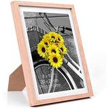 Latitude Run® Natural Wood Photo Frame,Picture Frames Real Glass Front Wall Hanging Gallery For Wall & Tabletop Display,Set Of 6 Wood in Brown
