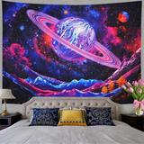 East Urban Home Blended Fabric Galaxy Trippy Planet Tapestry Blended Fabric in Blue, Size 39.4 H x 52.4 W in   Wayfair