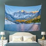East Urban Home Snow Mountain Lake Landscape Colorado Winter Nature Tapestry Yoga Tapestries Wall Hanging Home Decoration Bedroom Decor Living Room Door Curtain Balco