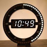 "Latitude Run® Hot 12"" Digital LED Round Ring Wall Clock USB Electronic Clock 12/24 Hour Display in Black | Wayfair F7D5A6274DE54C09B90E547493FC6BFF"