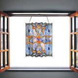 Fleur De Lis Living Baroque Stained Glass Window Panel in Blue, Size 22.0 H x 17.0 W x 0.0394 D in | Wayfair 66998DC8BF294994B467EB02771F2200