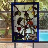 Fleur De Lis Living Stained Glass Window Panel in Blue, Size 14.0 H x 10.0 W x 0.0787 D in | Wayfair 547373EE869A48EDB38419BD8BA7C303