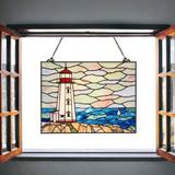 Breakwater Bay Peggy's Point Lighthouse Stained Glass Window Panel in Blue, Size 19.0 H x 14.0 W x 0.0394 D in | Wayfair