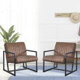 17 Stories Modern & Simple Design Chair, PU Steel Armchair, Brown Faux Leather/Metal in Black, Size 29.0 H x 26.0 W x 26.0 D in | Wayfair