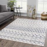 Foundry Select Dounia Moroccan Farmhouse Beige, Gray, Dark Blue Area Rug Polypropylene in White, Size 24.0 W x 0.31 D in | Wayfair