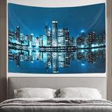 East Urban Home Chicago Tapestry Chicago Skyline Tapestry Wall Hanging For Room Decor Buildings Tapestries Skyline Night View Tapestry Wall Hanging For Bedroom A