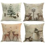 The Holiday Aisle® Set Of 4 Christmas Deer Animal Print Throw Pillow Cover Winter Home Decor Cushion Cover Cotton Blend | Wayfair