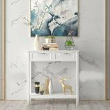 Red Barrel Studio® 2 Drawers Accent Console Entryway Storage Shelf Wood in White, Size 32.5 H x 32.0 W x 14.0 D in | Wayfair