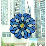 Fleur De Lis Living Yaloyi Stained Glass Window Panel in Blue, Size 6.6 H x 6.6 W x 0.0913 D in | Wayfair 12434C37CDF248D69FF893F651A44FAB