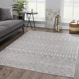 Foundry Select Dounia Moroccan Farmhouse Beige, White Area Rug Polypropylene in Gray, Size 63.0 W x 0.31 D in | Wayfair