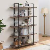 17 Stories 5-Shelf Industrial Bookshelf, Open Etagere Bookcase w/ Metal Frame, Rustic Book Shelf, Storage Display Shelves, Wood Grain - Distressed