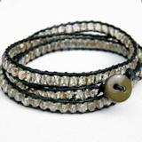 Free People Jewelry | Black Crystal Beaded Leather Wrap Bracelet | Color: Black/Gray | Size: Os