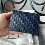 Gucci Bags | Gucci Micro Gg Logo Leather Card Case Small Wallet Unisex | Color: Blue | Size: Os