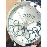 Disney Accessories | Disney Women'S Watch Mickey Mouse Wds000677 Silver Dial Quartz Black Nylon Band | Color: Black/Silver | Size: 38 Mm