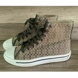 Coach Women's High Top Sneakers Monogram Lace Up Tennis Shoes Size 6