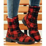 ROSY Women's Casual boots Red - Black & Red Plaid Combat Boot - Women