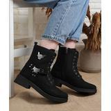Mosimoso Women's Casual boots BLACK - Black 'Fashion Boots' Leather Combat Boot - Women