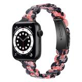 BXD Replacement Bands Black - Black & Pink Marble Resin Band Replacement for Apple Watch