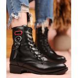 Mosimoso Women's Casual boots BLACK - Black Tassel Badge Combat Boot - Women