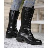 Mosimoso Women's Casual boots BLACK - Black Lace-Up Patent Leather Boot - Women