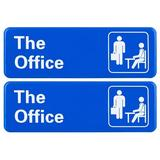 """Excello Global Products The Office Sign: Easy To Mount Sign w/ Symbols, 9""""X3"""" Sign 2-Pack Plastic in Blue, Size 9.2 H x 3.2 W x 0.4 D in 
