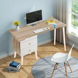 Corrigan Studio® Computer Desk,Laptop Study Table,Home Office Furniture w/ 3 Drawers Wood in White/Brown, Size 28.94 H x 47.24 W x 19.69 D in