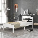 Red Barrel Studio® Solid Wood Platform Bed w/ Headboard & Footboard, Twin Size Platform Bed Frame Mattress Foundation w/ 8 Slats Support in White
