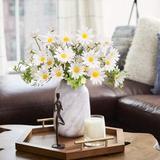 Primrue Flowers Bouquets Faux Daisy Silk Floral Arrangement Flower Bunch For Home Garden, 12Pcs Silk/Plastic in White   Wayfair