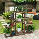 Arlmont & Co. 6-Tier Flower Wood Stand Plant Display Rack Storage Shelf in Brown, Size 38.0 H x 47.5 W x 10.0 D in | Wayfair