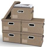 Latitude Run® Storage Bins w/ Lids, Foldable Linen Fabric Storage Boxes w/ Lids in Brown, Size 6.7 H x 11.4 W x 8.7 D in   Wayfair