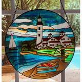 Breakwater Bay Stained Glass Window Panel in Blue, Size 10.0 H x 10.0 W x 0.0394 D in | Wayfair F324497E6B6D49CEB26A3A6F9389492F
