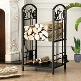 Red Barrel Studio® Two Tier Wood Storage Rack w/ Accessories Indoor Outdoor Metal Wood Stacker in Brown, Size 29.3 H x 17.3 W x 11.8 D in | Wayfair