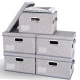 Latitude Run® Storage Bins w/ Lids, Foldable Linen Fabric Storage Boxes w/ Lids in Gray, Size 6.7 H x 11.4 W x 8.7 D in   Wayfair