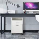 Latitude Run® Mobile File Cabinet Storage Door Shelf Casters Wood/Metal/Steel in White, Size 23.6 H x 15.7 W x 13.8 D in | Wayfair