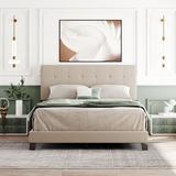 Latitude Run® Aieshia Upholstered Platform Bed w/ Tufted Headboard, Box Spring Needed, Beige Linen Fabric, Queen Size Upholstered/Linen/Linen Blend