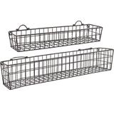 Rebrilliant Set Of 2 Country Rustic Wall Mounted Openwork Metal Wire Storage Basket Shelves/Display Racks in Brown, Size 30.0 H x 5.25 W x 5.0 D in