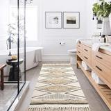 Foundry Select Boho Kitchen Runner Rug Cotton Tufted Geometric Rugs w/ Tassels Chic Diamond Farmhouse Rug Washable Woven Hallway Throw Doormat For Kitchen Sink/Bat