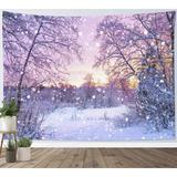 East Urban Home Winter Tapestry Wall Hanging Dreamlike Snow in Pink, Size 40.0 H x 60.0 W in | Wayfair A257892616AA406C857E8C5BF8AA779F