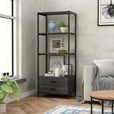"""17 Stories 59.8"""" H X 23.6"""" W X 15.7"""" D Light Duty Shelving Unit,With Two Drawers in Black, Size 59.8 H x 23.6 W x 15.7 D in 
