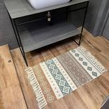Foundry Select Cotton Area Rug w/ Tassel- Small Boho Bathroom Runner Bath Mat - Machine Washable Farmhouse Throw Rug in Brown/Green | Wayfair