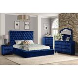 House of Hampton® Cylan Full 4 Pc Bedroom Set In Black Upholstered in Blue, Size Full/Double | Wayfair 46C3DC0570A84CE59693E7C175A9DD74