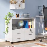 XDYZ File Cabinet w/ 3 Drawers & Lock in White, Size 25.98 H x 31.5 W x 15.75 D in | Wayfair HL-F1357-WF