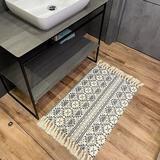 Foundry Select Cotton Area Rug w/ Tassel- Small Boho Bathroom Runner Bath Mat - Machine Washable Farmhouse Throw Rug in Black/Green/White | Wayfair