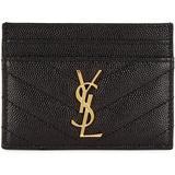 Black Logo Leather Card Holder - Black - Saint Laurent Wallets