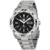 5 Automatic Black Dial Stainless Steel Watch - Metallic - Seiko Watches