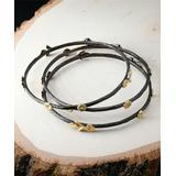 Vera & Co. Women's Bracelets black - 14k Gold Flash-Plated Bangle - Set of Three